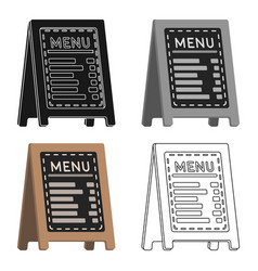 Menu of pizzeria icon in cartoon style isolated on vector
