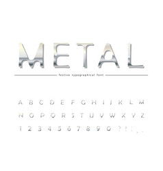 metallic 3d font classic silver colored abc vector image