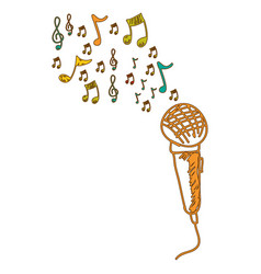 Microphone instrument note music icon vector