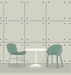 modern bar table with two chairs on concrete vector image
