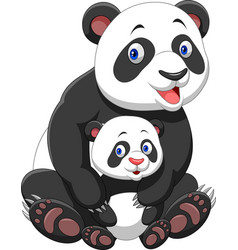mother and baby panda vector image