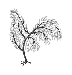 New year symbol stylized branches cock for use vector