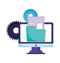 Online education computer folder file data vector