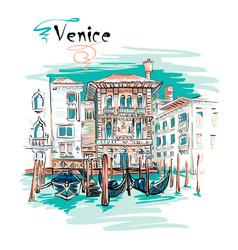 Palazzo on grand canal in venice italia vector