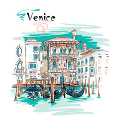Palazzo on the grand canal in venice italia vector