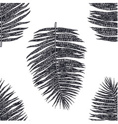 palm leaves seamless pattern black background vector image