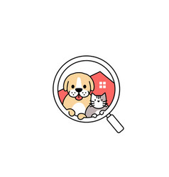 pet dog cat house search logo icon vector image