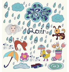 Rain cartoon background with funny elements vector image