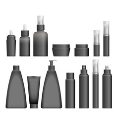 realistic black cosmetics bottles vector image