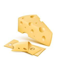 Realistic emmental cheese wedge with slices vector