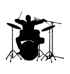 rock and roll drummer silhouette music event vector image