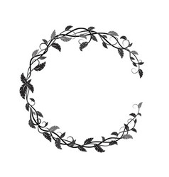 Round frame with black and gray lianas and leaves vector