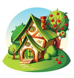Rustic stone house summer landscape vector