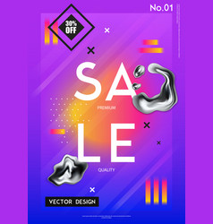 sale poster with realistic chrome drips vector image