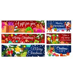 santa christmas reindeer with xmas gift banners vector image