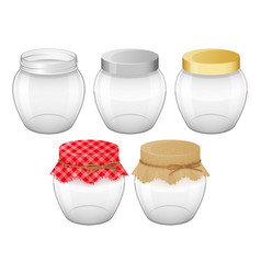Set empty glass jars with lid for home made and vector