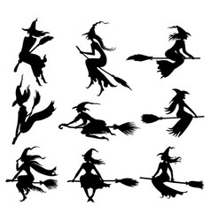 Set halloween witches silhouettes vector