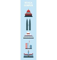 Set of Kuala Lumpur symbols vector image