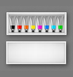 Set paints tubes in box top view dye palette vector