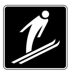 Signboard ski jump vintage vector