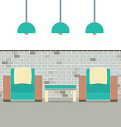 Sofas With Modern Lamp On Brick Background vector image