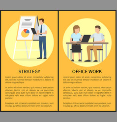 strategy and office work set vector image