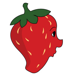 strawberry with face on white background vector image