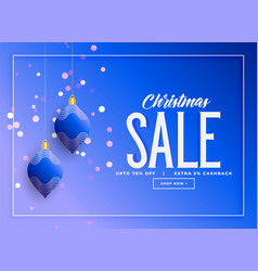 stylish christmas hanging balls sale background vector image