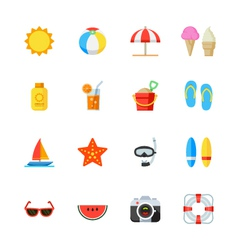 Summer and Beach Icons vector image