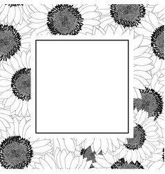 sunflower outline banner card vector image