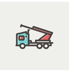 Towing truck thin line icon vector image