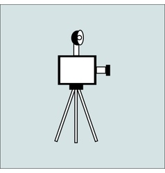 Vintage camera with flash on the tripod vector image