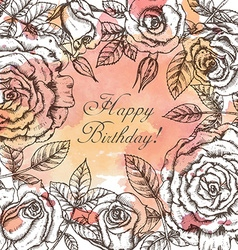 Vintage elegant greeting card with graphic flowers vector