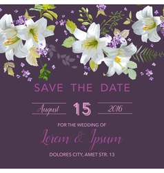 Wedding Invitation Card - with Floral Lily vector image