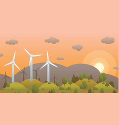 wind turbines and sunset in evening forest on vector image