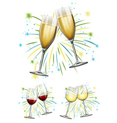 Wine glasses and champagne glasses vector