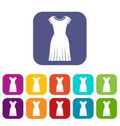 Woman dress icons set vector