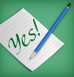 Yes sign on a piece of paper vector