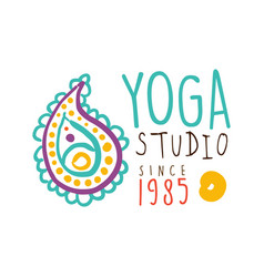 Yoga studio since 1985 logo colorful hand drawn vector