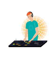 Young male dj with red hair and hands on desk vector
