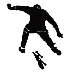 Young man riding a skateboard in black and white t vector image