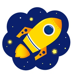 Cartoon stylized Rocket in space with stars vector image