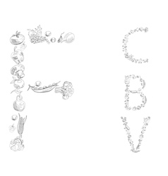 Decorative font with fruit and vegetable letter c vector