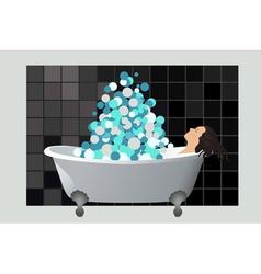 Girl in a foam bath vector image