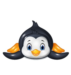 Penguin is sliding on the snow vector image vector image
