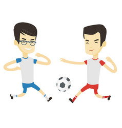 two male soccer players fighting for ball vector image vector image