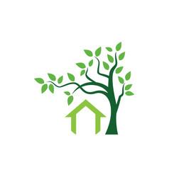 green tree house logo vector image