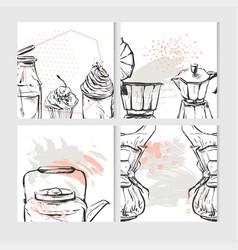 hand drawn abstract textured food card vector image vector image