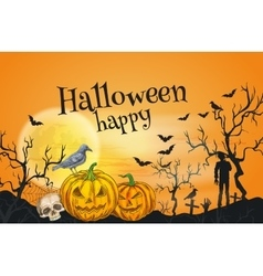 Happy Halloween orange greeting card template vector image