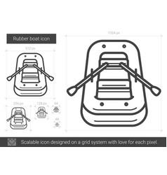 Rubber boat line icon vector
